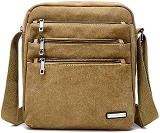 DIEBELLAU Men and Women Multi-Purpose Canvas Shoulder Bag Simple Wild Fashion Messenger Bag Cloth Bag (Color : Khaki)