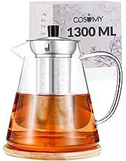 Cosumy Dzbanek do herbaty z sitkiem ze stali nierdzewnej 1300 ml ze szkła - z podstawką - można myć w zmywarce - odporny na wysokie temperatury