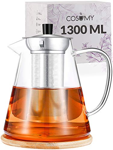 Cosumy Teekanne mit Edelstahl Sieb 1300ml aus Glas - inkl. Untersetzer - Spülmaschinenfest - Hitzebeständig