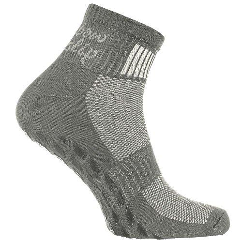 1 Paar grau Anti-Rutsch-Socken mit ABS-System, ideal für solche Sportarten,wie Joga,Fitness,Pilates,Kampfkunst,Tanz,Gymnastik,Trampolinspringen.Größen von 42 bis 43,atmende Baumwolle