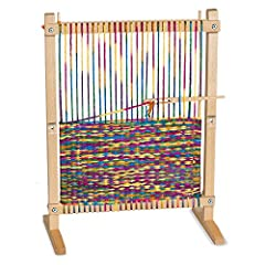 IDEAL KID-FRIENDLY WEAVING KIT: The Melissa & Doug Wooden Multi-Craft Weaving Loom includes everything kids need, including adjustable wooden loom, oversize wooden needle, craft materials, illustrated design booklet, and 91 yards of rainbow yarn. PRO...
