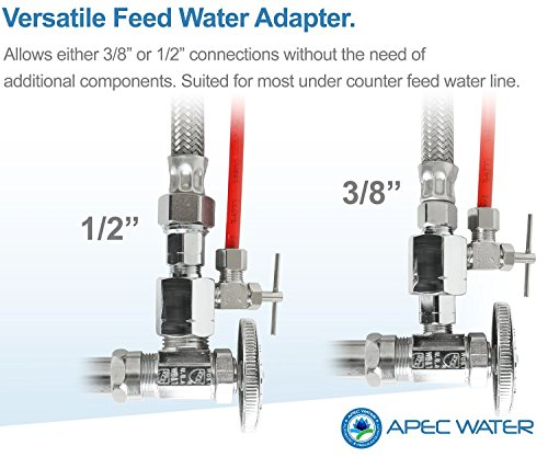 APEC Water Systems ROES-50 Essence Series Top Tier 5-Stage Certified Ultra Safe Reverse Osmosis Drinking Water Filter… 10 Supreme quality - designed, engineered, and assembled in USA to guarantee water safety & your health. Only technology to remove up to 99% of contaminants such as chlorine, taste, odor, VOCs, as well as toxic fluoride, arsenic, lead, nitrates, heavy metals and 1000+ contaminants. Max Total Dissolved Solids - 2000 ppm. Feed Water Pressure 40-85 psi WQA Certified System. Premium long-lasting filters used to treat tap water, well water. Provide unlimited clean, refreshing crisp tasting water superior to bottled water