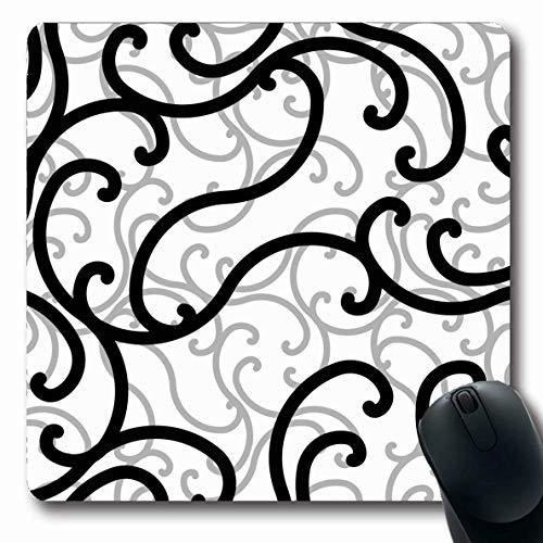 Mausepad Künstlerische Schwarz-Weiß-Schriftrolle Wirbelmuster Antike Barock-Clipart-Locken-Fliesen Detail Spitze Zeichenarbeit Mousepad Längliche Mausmatte 25X30Cm Langlebiges Sch