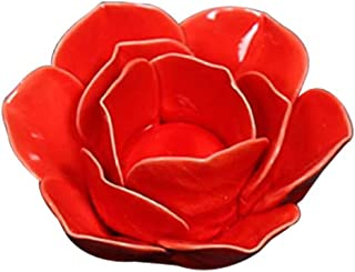 Vosarea Ceramic Lotus Petals Style Flower Candle Holder Tea Lights Holder Home and Table Top Decoration(Lotus Red A)