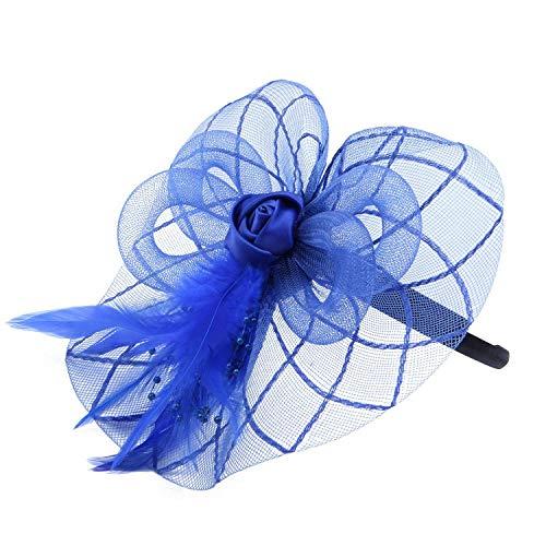 Gaoominy Flower Bandeau de Plume Fascination Chapeau de Bal de Mariage Dames, Bleu