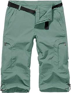 Jessie Kidden Women's Stretch Hiking Shorts Outdoor Quick Dry Casual Knee Capri Cargo Pants (2030 Light Green-New 29)