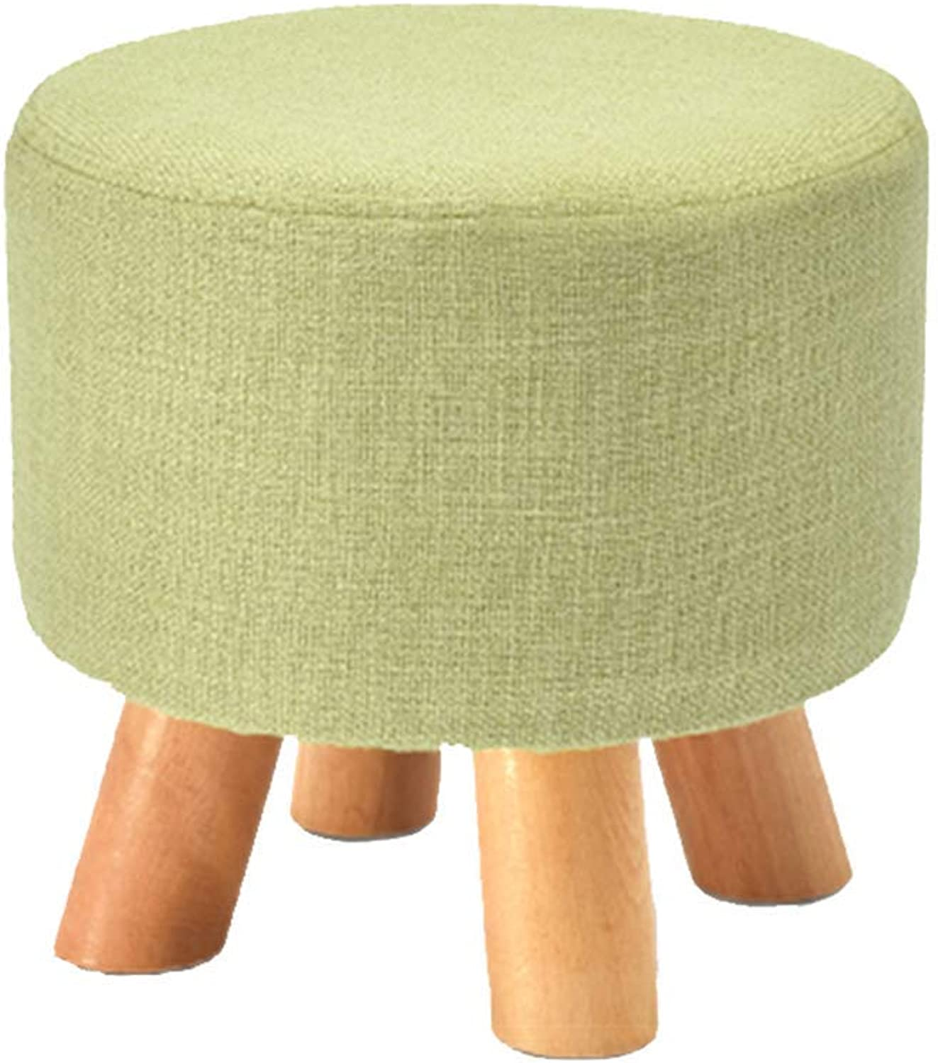 Comfortable Lounge Chair Stool Solid Wood Frame Natural Cotton and Linen Stool Cover Removable and Washable 29  27cm