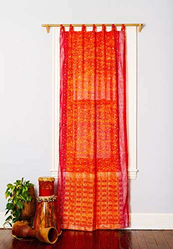 """Colorful Window Treatment Draperies Indian Sari Panel 108 96 84 inch for Bedroom Living Room Dining Room Kids Teens Canopy Boho Curtains Silk Bag (Orange Pink, 42""""W x 84""""L)"""