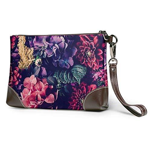 Ahdyr Damen Leder Clutch Blumenmuster Leder Wristlet Clutch Bag Reißverschluss Handtaschen Geldbörsen für Frauen Telefon Brieftaschen mit Strap Card Slots