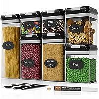 chef's path set di contenitori alimentari – etichette e pennarello – contenitori ermetici per alimenti per farina, pasta - contenitori sottovuoto per alimenti