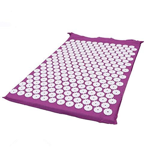 IAMZHL Massagerkissen Akupunktursets lindern Stress Rückenschmerzen Akupressurmatte Kissenmatte Rose Spike Massage Entspannung Yoga Matte-Purple Mat