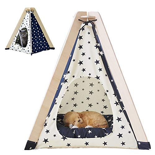 Hond Tipi Tent, afneembare wasbare gesloten kattennestvilla van hout draagbare opvouwbare vierseizoenen universeel hondenhuis met matras