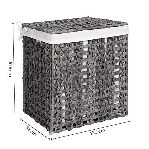 SONGMICS Wäschekorb handgeflochten, Wäschesammler aus Polyrattan, Wäschesack herausnehmbar, mit Deckel, Metallgestell, Aufbewahrungskorb, 45,5 x 32 x 51,5 cm, Wohnzimmer, grau LCB050G02 - 5