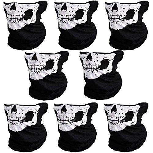 CIKIShield Skull Face Mask Seamless Bandanas Black white 8pcs