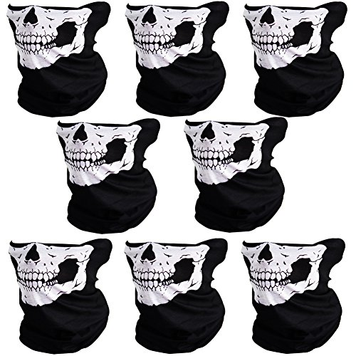 CIKIShield Skull Face Mask Seamless Bandanas Black white 8pcs