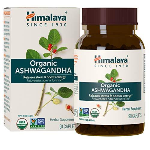 Himalaya Organic Ashwagandha, Natural Stress & Anxiety Relief, Energy Supplement, 670 mg, 90 Caplets, 3 Month Supply