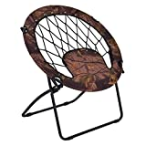 Casart Folding Bunjo Bungee Chair Outdoor Camping Gaming Hiking Garden Patio Round Web Portable Steel Bungee Dish Chairs (Brown)