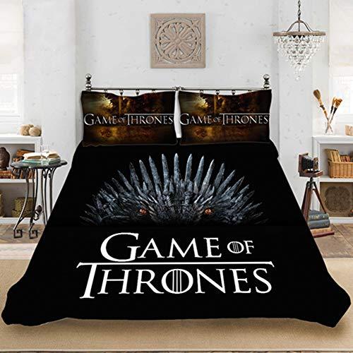 SSIN Juego de ropa de cama – Funda nórdica y 2 fundas de almohada Juego de Tronos, juego de cama (08,135 x 200 cm)