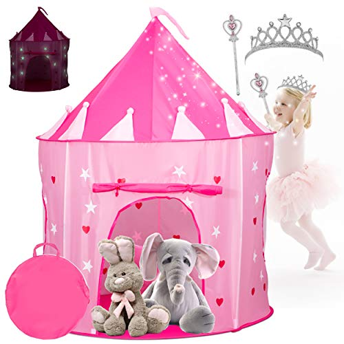Kiddey Princess Castle Play Tent with Glow in The Dark Stars - Comes with Tiara and Wand -...