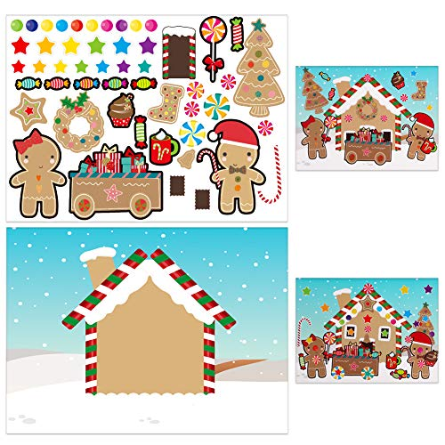 XJF Make-a-Gingerbread House Stickers for Kids,24pcs Make Your Own Christmas Candy Cookie Stickers,Xmas Party Supplies Favors for Classroom Children Activities