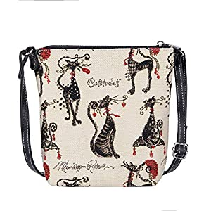 Signare Tapestry Small Crossbody Bag Sling Bag for Women with Marilyn Robertson Catitude Design (SLING-CUDE)