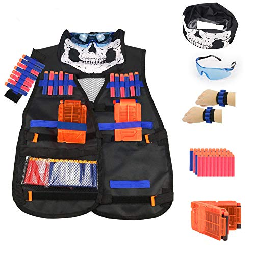 Kepooman Tactical Vest Kit for Nerf Guns N-Strike Elite Series with Adjustable Tactical Vest Jacket,40 Refill Darts,Reload Clip,Tactical Mask,Wristband,Protective Glasses for Boys Girls