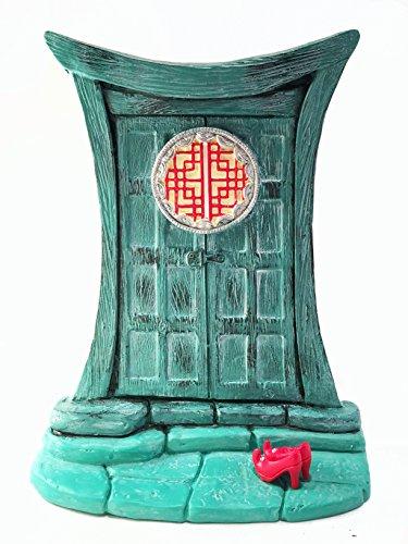 GlitZGlam Puerta de Hadas Zen para gnomos y Hadas de jardín en Miniatura - Una Hermosa Puerta en Miniatura de Estilo Oriental y Turquesa, con Zapatos de Hada Rojos extraíbles