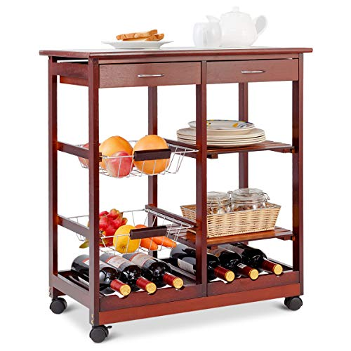 COSTWAY Küchenwagen Kiefernholz, Servierwagen auf Rollen, Rollwagen Küche, Küchentrolley mit Schubladen, Beistellwagen braun