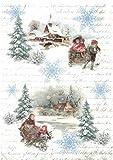 Zita`s Creative Reispapier A4 -Winter Afternoon Moments 1. Motiv-Strohseide, Strohseidenpapier,...
