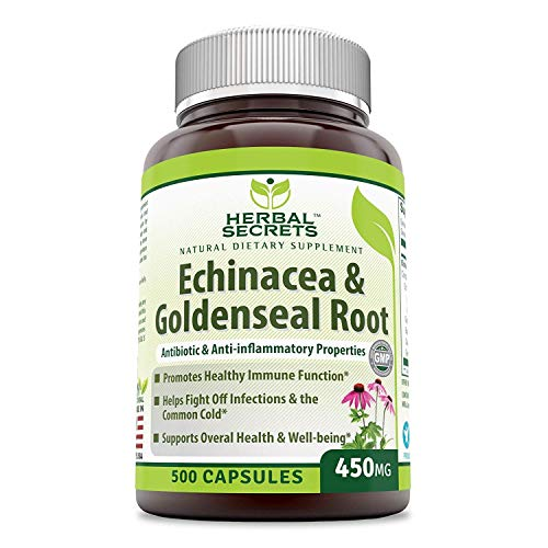 Herbal Secrets Echinacea & Goldenseal Root - 450 Mg 500 Caps with Echinacea Purpurea, Goldenseal, Burdock Root & Cayenne Pepper