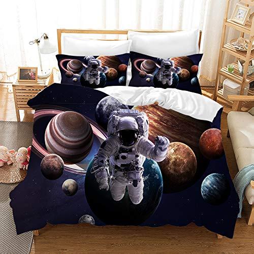 PTNQAZ Juego de ropa de cama con estampado 3D de astronauta para niños, ropa de cama, colcha para niños, regalo, decoración de dormitorio (King)