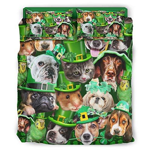 St. Patrickes Day Animals Cal King - Juego de cama de 4 piezas con cremallera, incluye 1 funda de edredón y 2 fundas de almohada, color blanco 175 x 218 cm