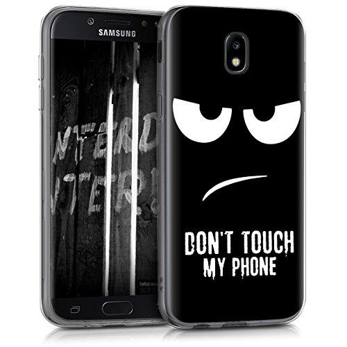 kwmobile Hülle kompatibel mit Samsung Galaxy J5 (2017) DUOS - Handyhülle Silikon Hülle - Don't Touch My Phone Weiß Schwarz