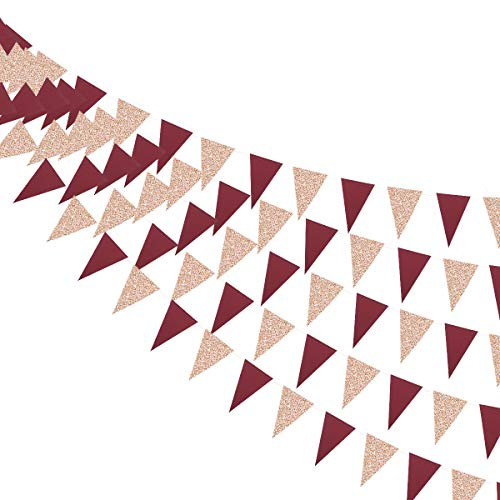 30 Ft Red Burgundy Decorations Banner Double Sided Glitter Paper Champagne Gold Triangle Flag Bunting Pennant for Wedding Engagement Anniversary Bridal Shower Birthday Bachelorette Party Decorations