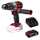 Einhell TE-CD 18 Li-i Brushless - solo Trapano a Percussione a Batteria, 1800 RPM, 18 V, Rosso+Einhell 4512097 Starter-Kit