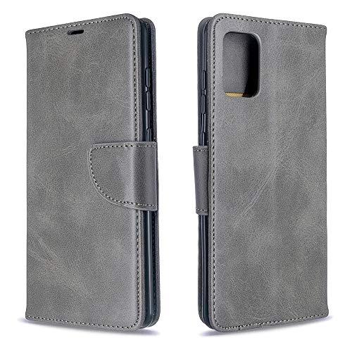 Runbiu Kompatibel mit Samsung Galaxy A71 Hülle, Premium PU-Leder Book Style Handyhülle TPU Bumper Flip Wallet Brieftasche Handyhülle Schutzhülle, Grau