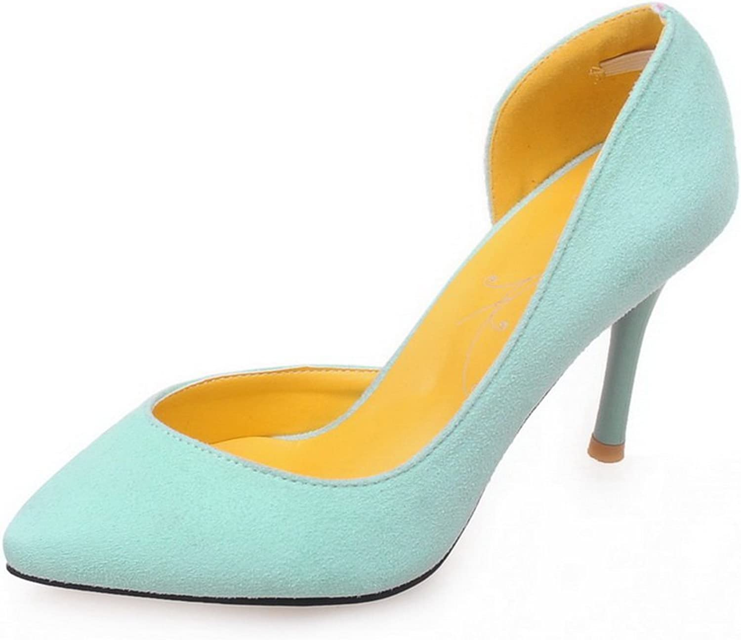 BalaMasa Ladies Chunky Heels Low-Cut Uppers Pointed-Toe Suede Pumps shoes
