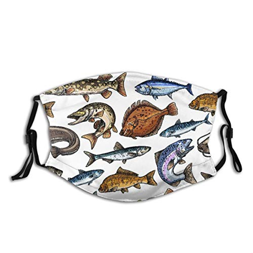 Face Cover Sea and Freshwater Fish Blue Marlin Tuna Salmon and Trout Balaclava Unisex Reusable Windproof Anti-Dust Mouth Bandanas Outdoor Camping Motorcycle Running Neck Gaiter with 2 Filters