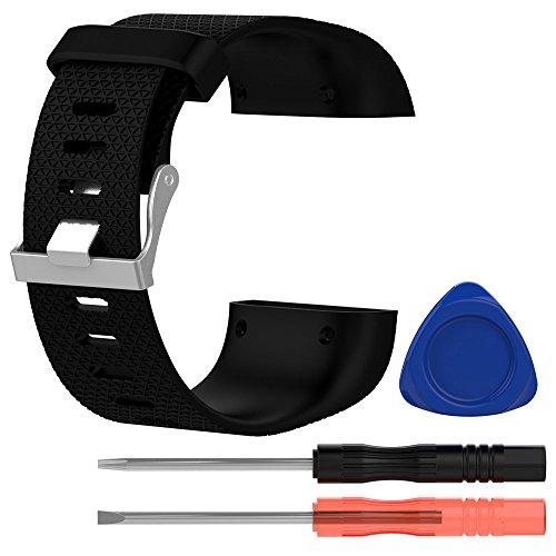Colorful Für Fitbit Surge Groß Silikon Sport Ersatzarmband Ersatz-Uhrenarmband Replacement Wechselarmband Watch Band für Fitbit Surge (Schwarz)