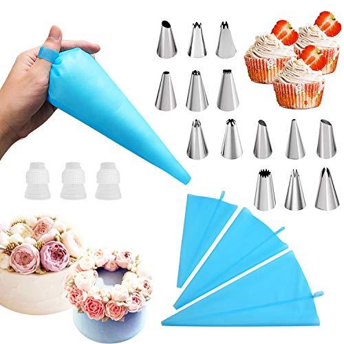 Set di 20 beccucci e sacchetti per tubazioni con 3 sacchetti riutilizzabili per tubazioni, con 3 accoppiatori, 14 ugelli in acciaio inox, kit di accessori per la decorazione della crema