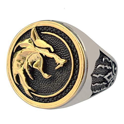 Titan Stahl Wolf Kopf Ring Wikinger Ring Warrior Hunter Geprägte Wolf Kopf Wolf Pfote Schmuck Ringe - Vintage Mode...