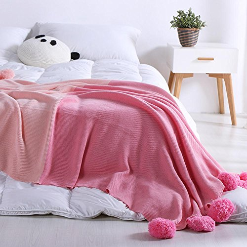Cosy-L Couverture Plaid Grande Qualité Cotton Couverture manteau couvre-lit enfants ou adultes Blanke Tapis QM031, Pink, 130*180cm