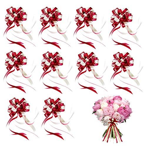 YIDABEISHUIP9 Lazo de Cinta de Nudo de Regalo Lazos de Cinta de Regalo Ideal para Navidad Lazos de Tirar de Cinta Grandes Lazo de Envolver Lazo de Envolver para Cajas de Embalaje(10 Piezas)