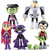 lkw-love Dibujos Animados Teen Titans Go Figurines Robin Cyborg Beast Child Starfire Crow Silkie PVC Coleccionables Juguetes para niños Regalos 7pcs / Set