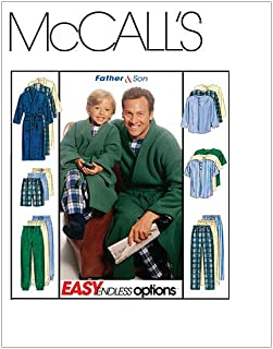 McCall's Patterns M6236 Boys'/Men's Robe with Tie Belt, Top, Pull-On Pants or Shorts, Size Men (SML-MED-LRG-XLG)