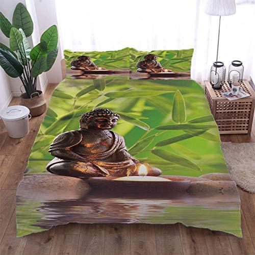 Jior Home Art Bettwäsche 3 Teiliger,1 Bettbezug 2 Kissenbezüge,Polycotton Atmungsaktiv,Anti Milben,Geeignet Für Allergische Haut,Ideal Für Kinder Jugendliche Schlafzimmer Buddha-Figur,155x220cm