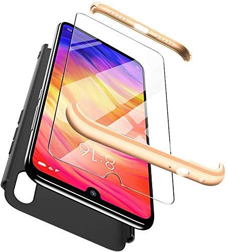 Happy 1st Funda para Xiaomi Mi MAX 2, 3 in 1 Rígida PC Carcasa Cristal Protector de Pantalla- 360 Grados Protección Cubierta Anti-rasguños Protectora de Teléfono Case Cover -Oro+Negro