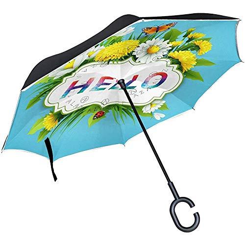 Umgekehrter Regenschirm Hello Spring Floral Butterfly, Doppelschicht-Umkehrschirm, wasserdicht für Auto-Regen im Freien, mit C-förmigem Griff