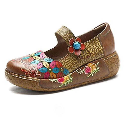 Socofy Wedges Sandals, Women's Colorful Flower Vintage Slip-on Leather Shoes Platform Sandal Maroon #6 11 B(M) US