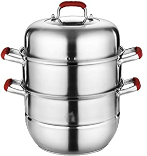 Vapor de Acero Inoxidable 304 / Olla de Sopa Hogar de 3 Capas con vaporizador 30 cm Engrosado Adecuado para Estufa de Gas/Cocina de inducción Adecuado para 5-8 Personas